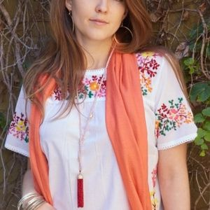 NWT Boho Floral Embroidery Tunic Top